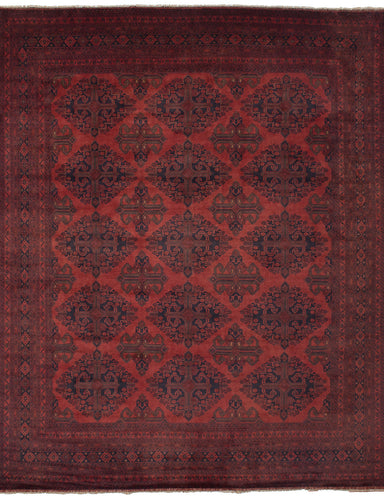 Hand-knotted Afghan Bordered  Tribal Finest-Khal-Mohammadi Area rug  Red 10.2 x 12.9