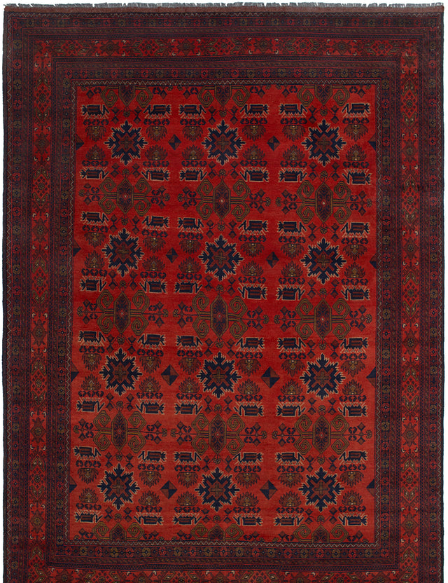 Hand-knotted Afghan Bordered  Tribal Finest-Khal-Mohammadi Area rug  Red 6.7 x 9.9