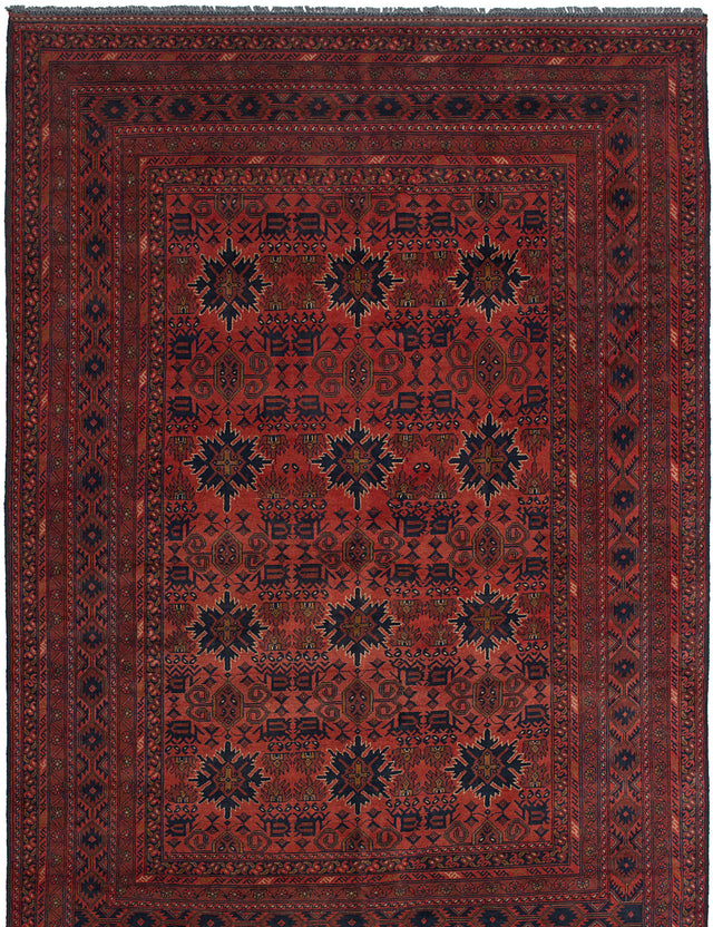 Hand-knotted Afghan Bordered  Tribal Finest-Khal-Mohammadi Area rug  Red 6.6 x 9.6