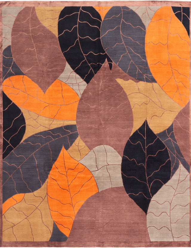 Hand-knotted  Casual  Contemporary Silk-Touch Area rug  Brown, Orange 8 x 10