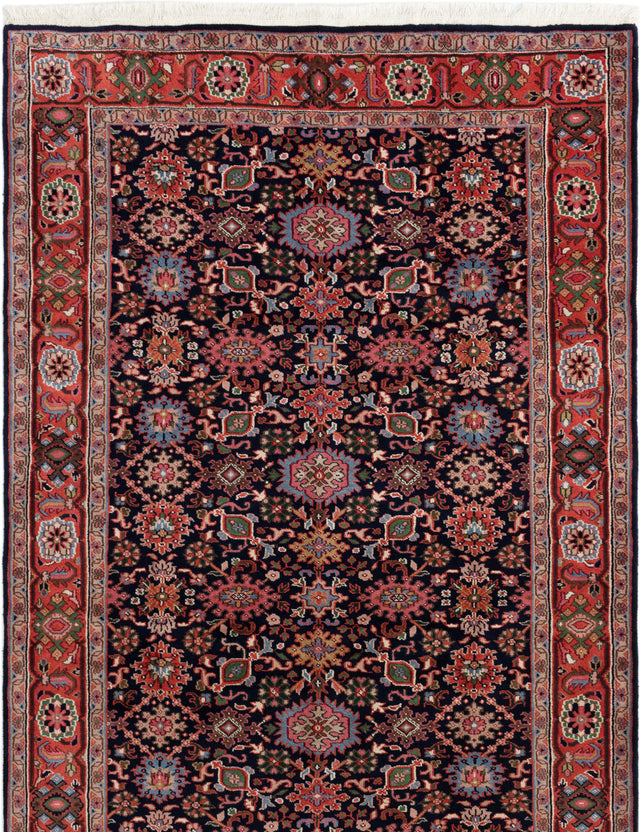 Hand-knotted Indian Bordered  Traditional Royal-Sarough Area rug  Dark Navy 5.1 x 8.5