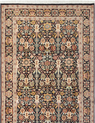 Hand-knotted Indian Bordered  Traditional Royal-Sarough Area rug  Black 5.8 x 8.6