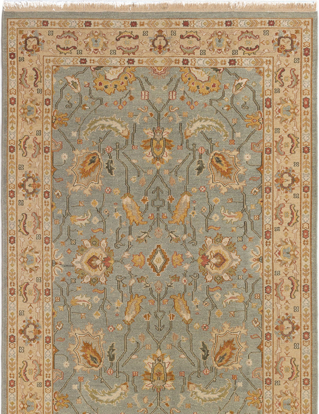 Flat-weave Pakistani Bordered  Traditional Lahor-Finest Area rug  Light Blue  5.6 x 8.7