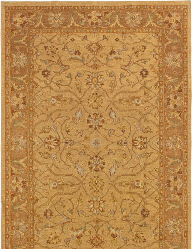 Flat-weave Pakistani Bordered  Traditional Lahor-Finest Area rug  Light Brown 5.9 x 8.7