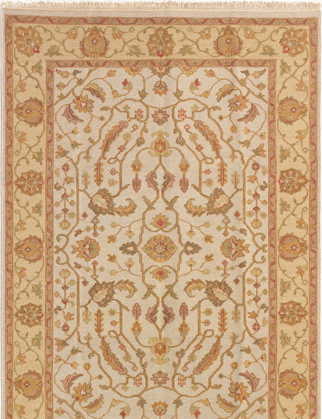 Flat-weave Pakistani Bordered  Traditional Lahor-Finest Area rug  Cream 5.8 x 8.6