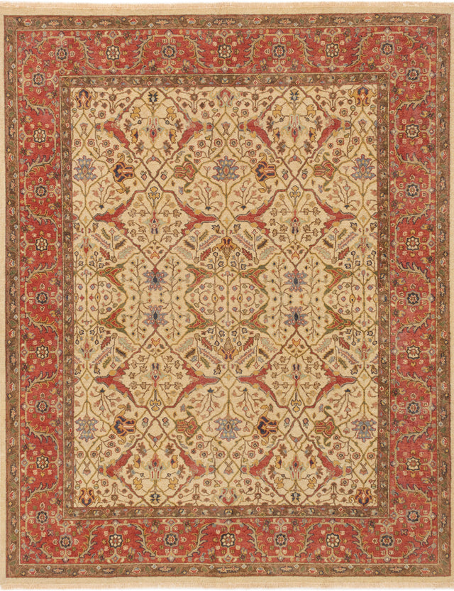 Flat-weave Pakistani Bordered  Traditional Lahor-Finest Area rug  Dark Red, Ivory 7.1 x 9.9