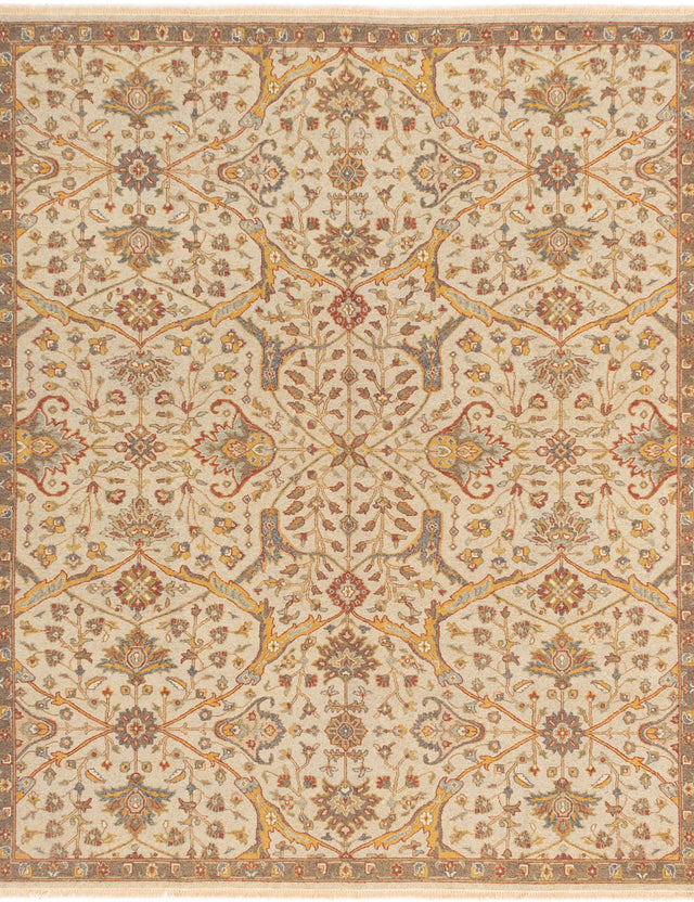 Flat-weave Pakistani Bordered  Traditional Lahor-Finest Area rug  Light Khaki 8.1 x 9.1