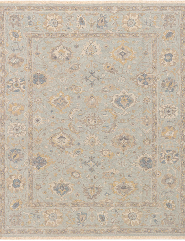Flat-weave Pakistani Bordered  Traditional Lahor-Finest Area rug  Light Blue  8 x 9.1