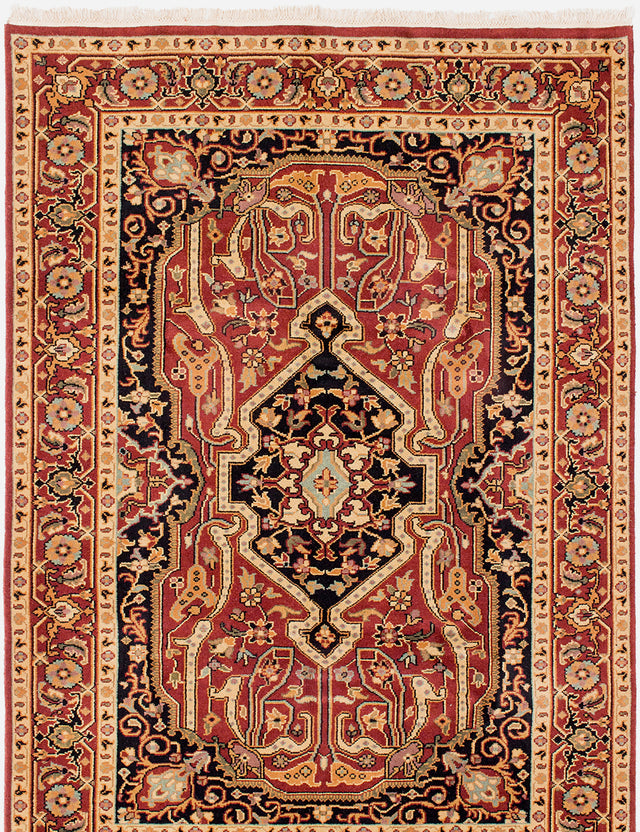 Hand-knotted Indian Bordered  Traditional Serapi-Heritage Area rug  Dark Red 5.6 x 8.6