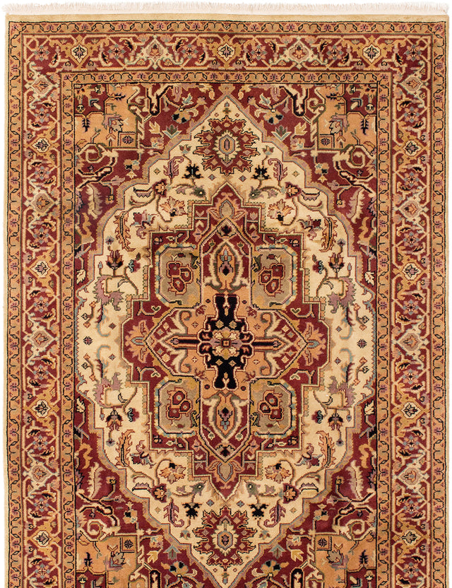 Hand-knotted Indian Bordered  Traditional Serapi-Heritage Area rug  Dark Red 5.7 x 8.5