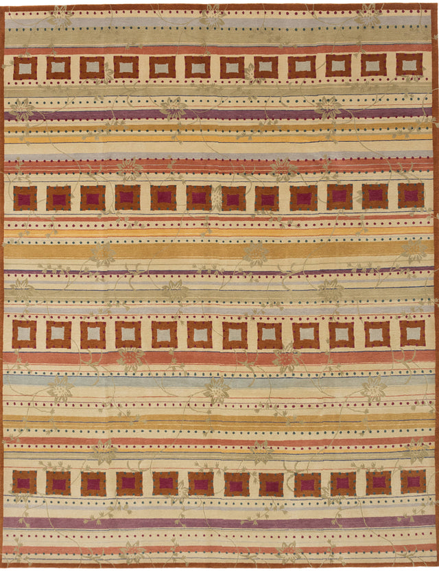 Hand-knotted  Casual  Transitional Karma Area rug  Cream 8 x 9.11