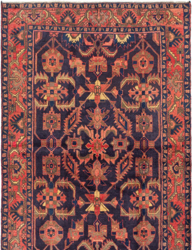 Hand-knotted  Bordered  Traditional Nahavand Area rug  Dark Navy 4.5 x 6.1
