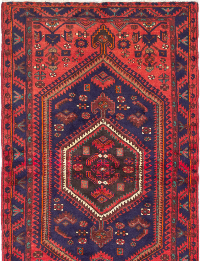 Hand-knotted  Bordered  Traditional Hamadan Area rug  Red 4.6 x 7.6