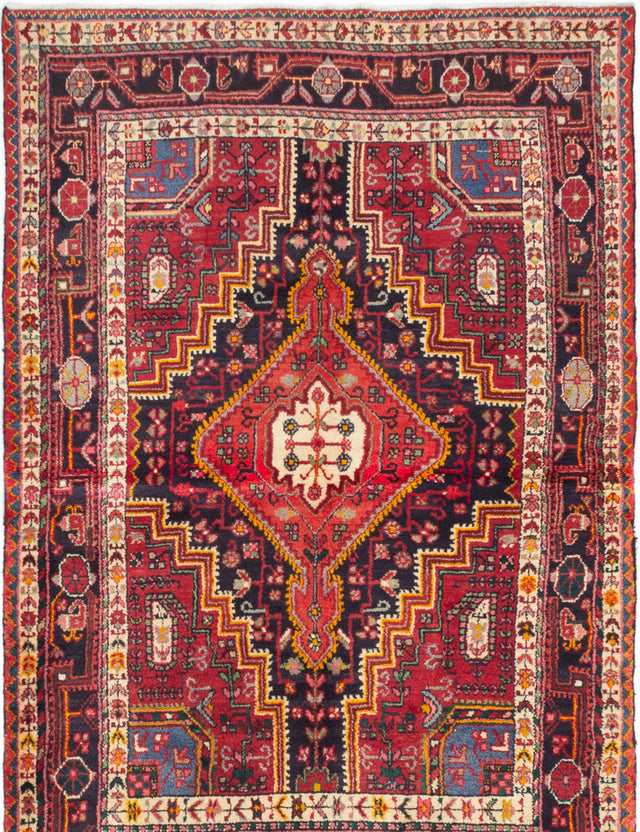 Hand-knotted  Bordered  Traditional Touserkan Area rug  Dark Navy, Red 4.9 x 7.2