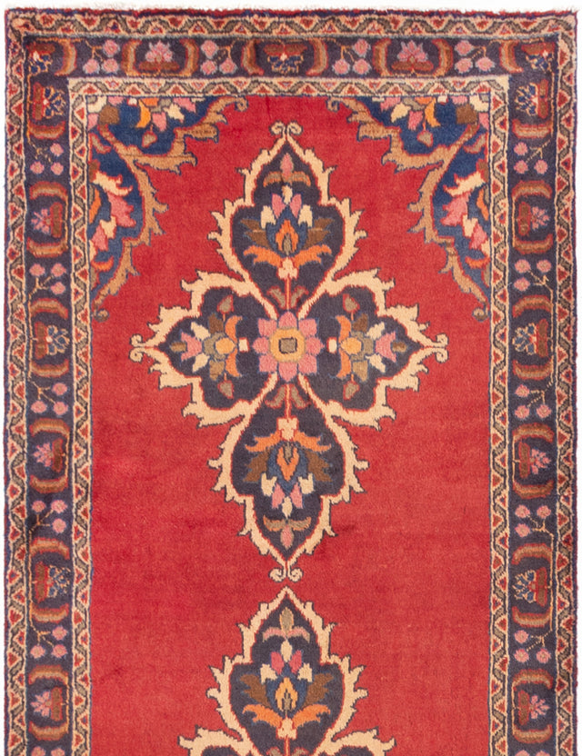 Hand-knotted  Bordered  Traditional Persian-Vintage Runner rug  Red 3.4 x 10.2