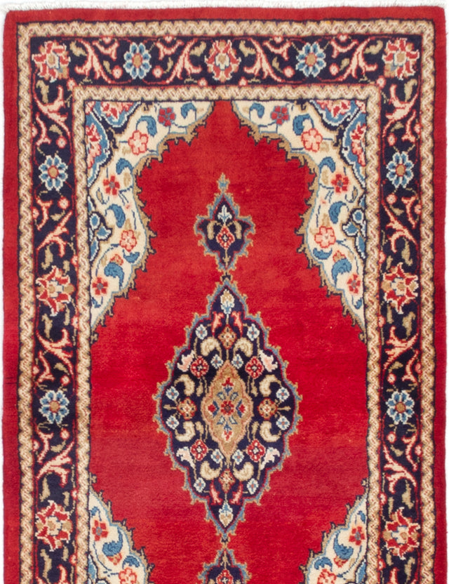 Hand-knotted  Bordered  Traditional Mahal Area rug  Red 3.5 x 6.3