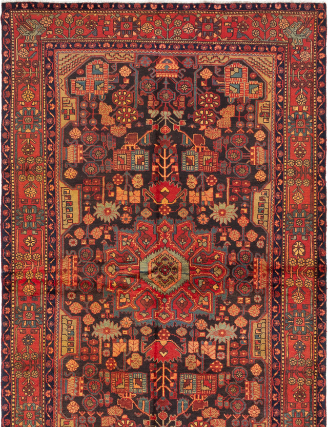 Hand-knotted  Bordered  Traditional Nahavand Area rug  Dark Navy, Red 5.8 x 9.9