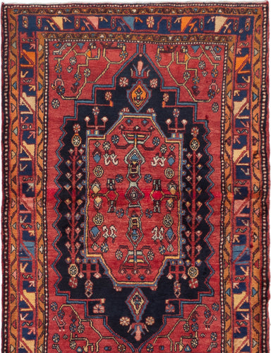 Hand-knotted  Bordered  Traditional Nahavand Area rug  Red 4.4 x 6.3