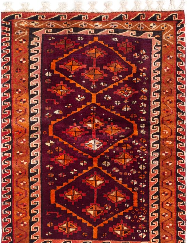 Hand-knotted  Bordered  Persian Meshkin Area rug  Dark Burgundy 4.1 x 6.1