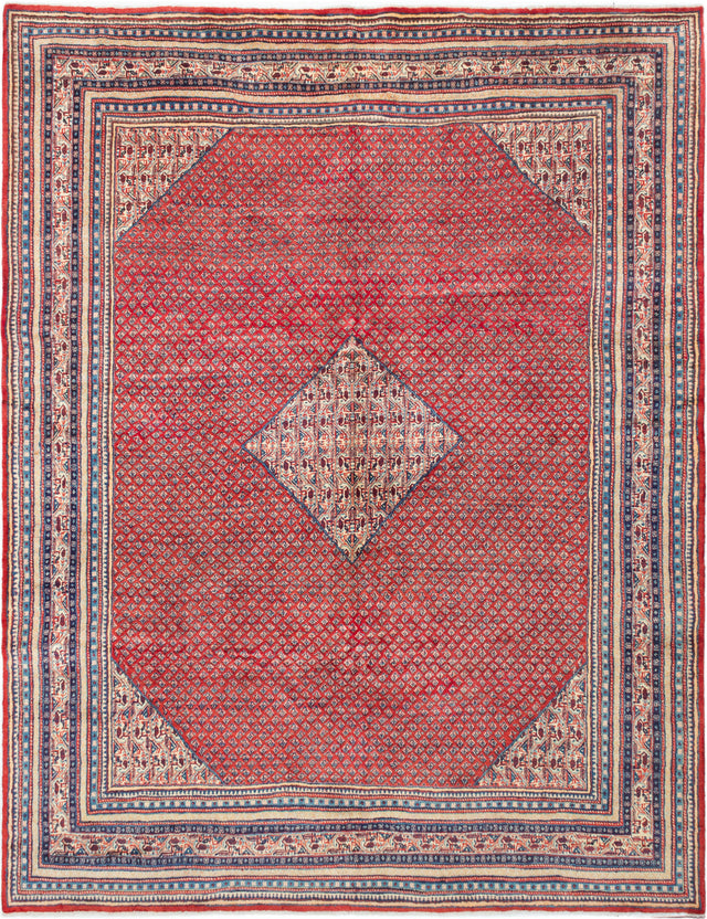 Hand-knotted  Bordered  Traditional Arak Area rug  Red 8.11 x 11.5