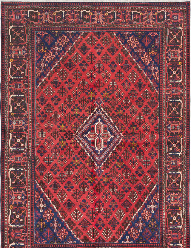Hand-knotted  Bordered  Traditional Joshagan Area rug  Red 7.6 x 10.9