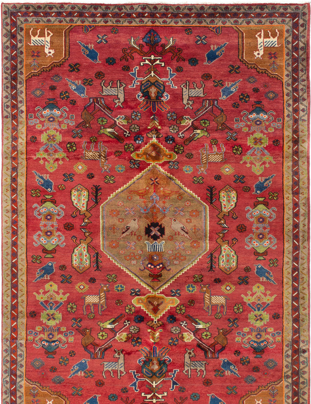 Hand-knotted  Bordered  Tribal Ardabil Area rug  Red 7 x 9.8