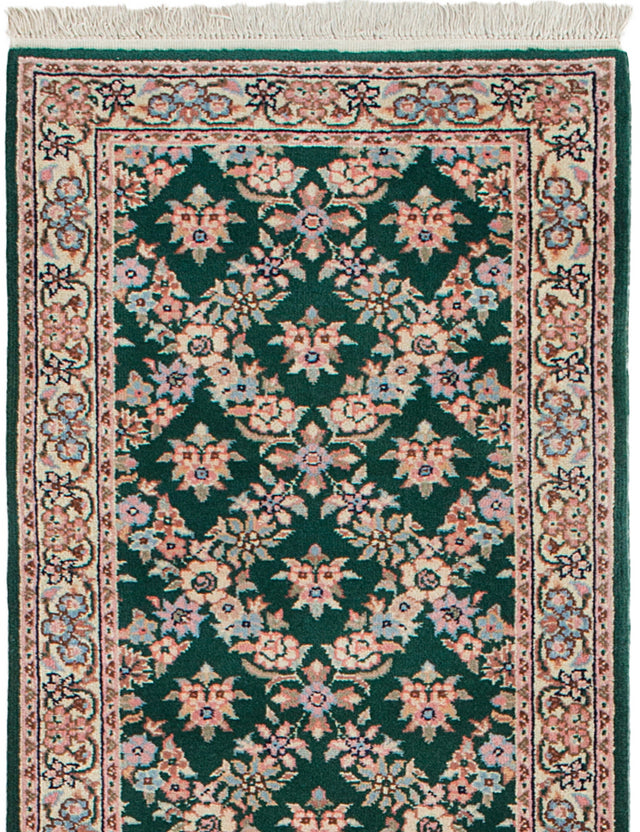 Hand-knotted Indian Bordered  Traditional Royal-Sarough Runner rug  Green 2.5 x 20