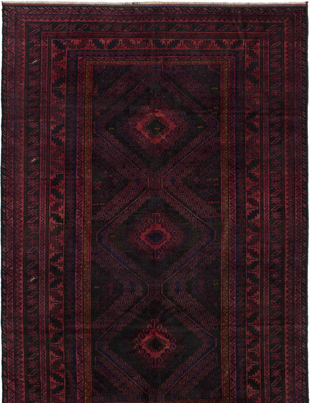 Hand-knotted Afghan Bordered  Tribal Rizbaft Area rug  Light Red 5.7 x 8.1