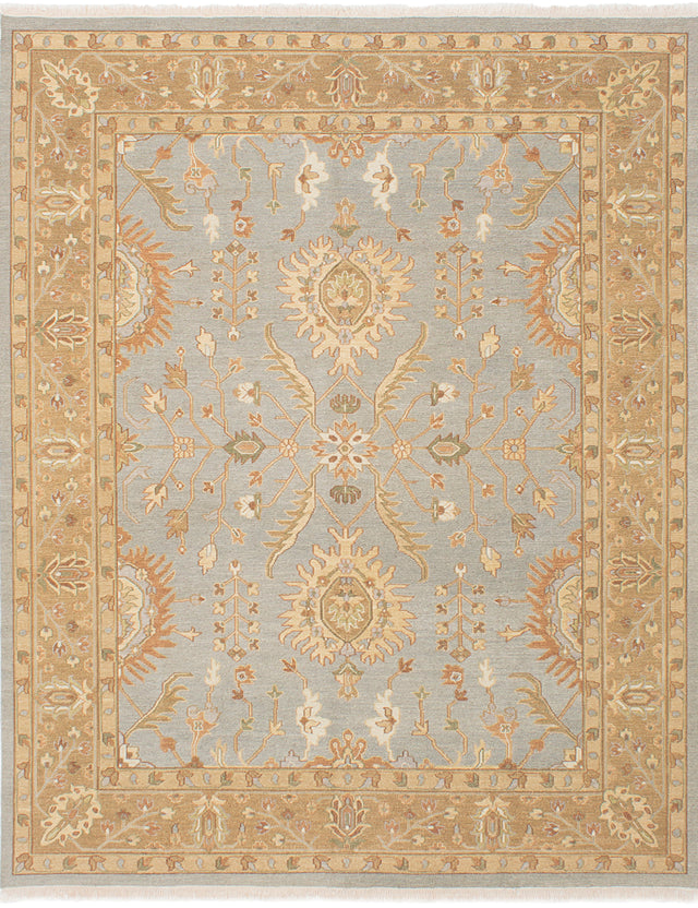 Flat-weave Pakistani Bordered  Traditional Lahor-Finest Area rug  Light Denim Blue 7.1 x 9.1