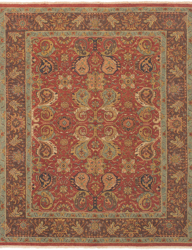 Flat-weave Pakistani Bordered  Traditional Lahor-Finest Area rug  Dark Red 8 x 9.1