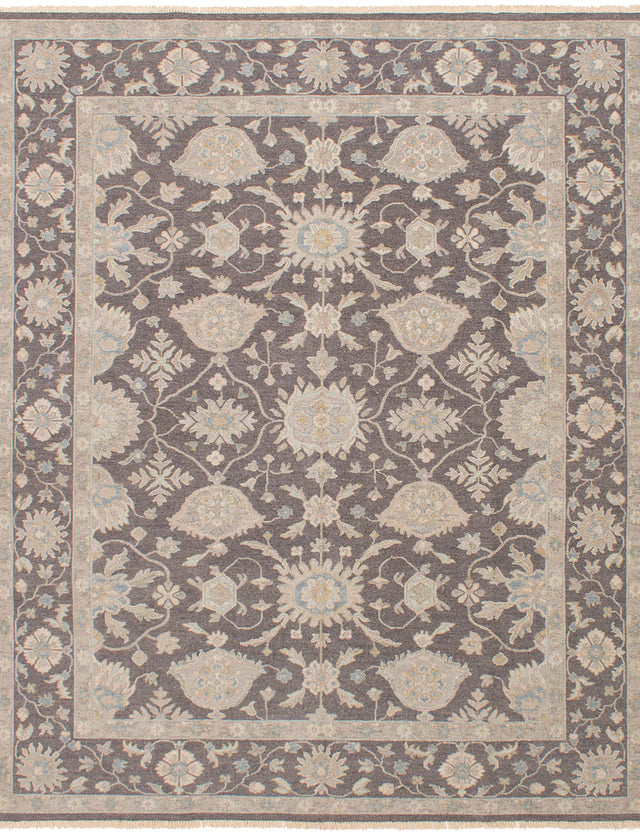 Flat-weave Pakistani Bordered  Traditional Lahor-Finest Area rug  Dark Grey 8 x 9.1