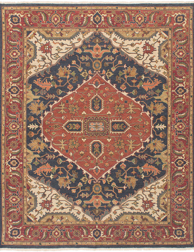 Flat-weave Pakistani Bordered  Traditional Lahor-Finest Area rug  Dark Navy, Dark Red 7.1 x 9.9