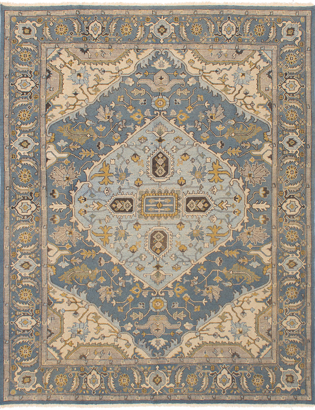 Flat-weave Pakistani Bordered  Traditional Lahor-Finest Area rug  Light Denim Blue 7.8 x 9.6
