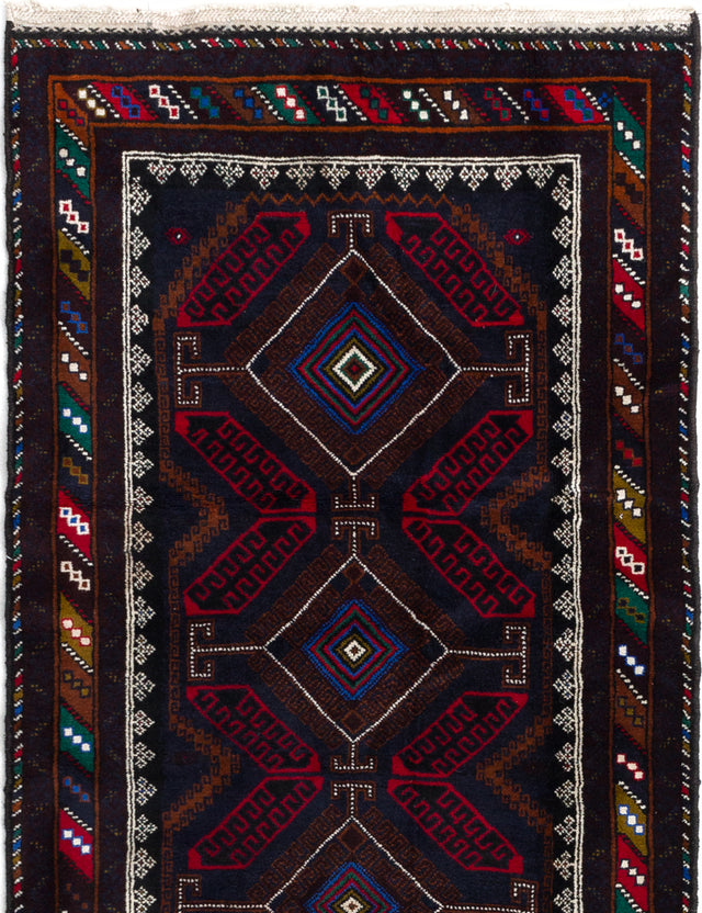 Hand-knotted Afghan Bordered  Tribal Kazak Area rug  Dark Navy 3.8 x 6