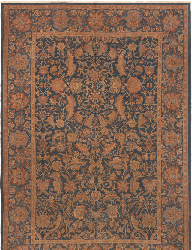 Flat-weave Chinese Bordered  Traditional Dynasty Area rug  Dark Navy 8.6 x 11.6