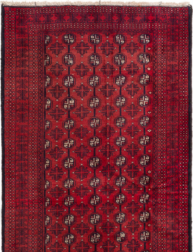 Hand-knotted Afghan Bordered  Tribal Vintage-Tribal Area rug  Red 3.7 x 6.9