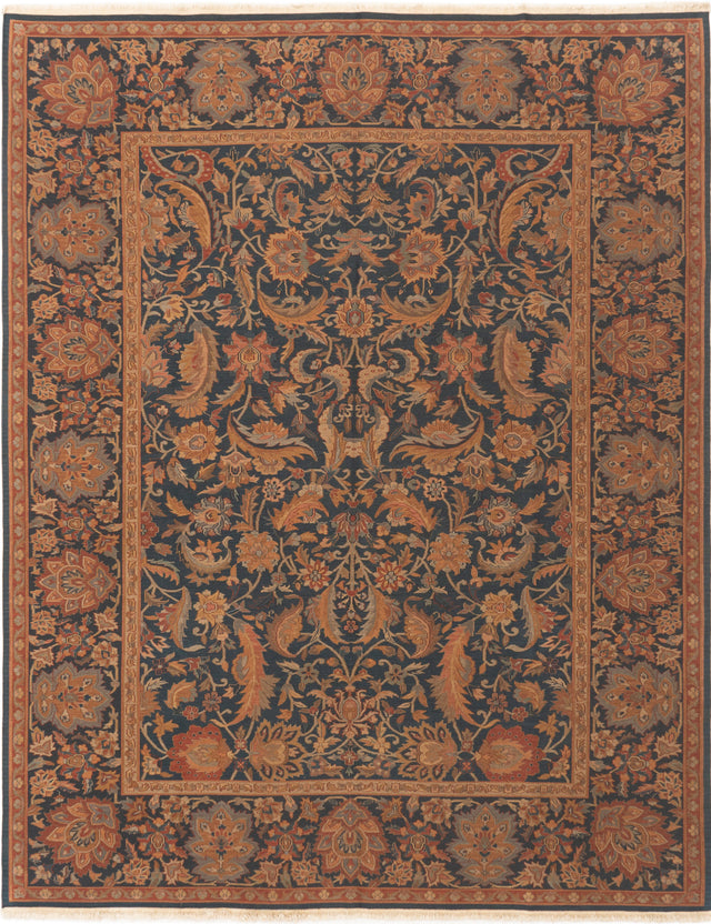 Flat-weave Chinese Bordered  Traditional Dynasty Area rug  Dark Navy 7.1 x 9.11
