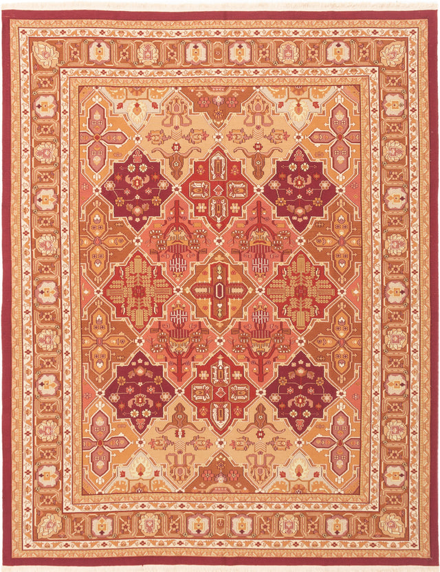Flat-weave Chinese Bordered  Traditional Dynasty Area rug  Red 7.11 x 10
