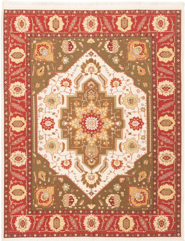 Flat-weave Chinese Bordered  Traditional Dynasty Area rug  Cream, Dark Red 8 x 10