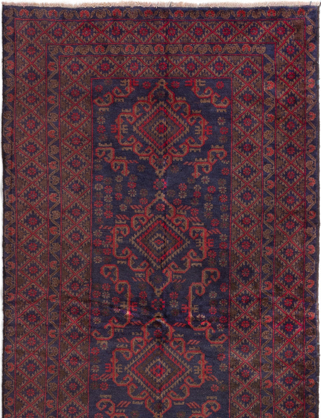 Hand-knotted Afghan Bordered  Vintage Vintage-Tribal Area rug  Dark Navy, Red 3.11 x 7.3