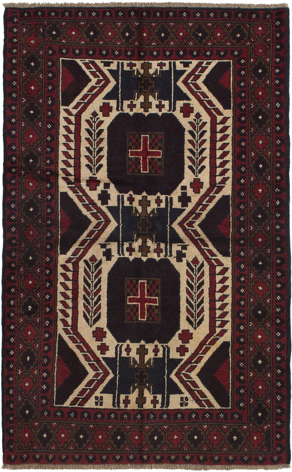 Hand-knotted Afghan Bordered  Tribal Rizbaft Area rug  Cream, Red 3.8 x 5.11