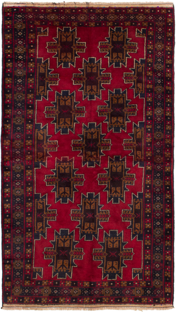 Hand-knotted Afghan Bordered  Tribal Rizbaft Area rug  Red 3.8 x 6.8