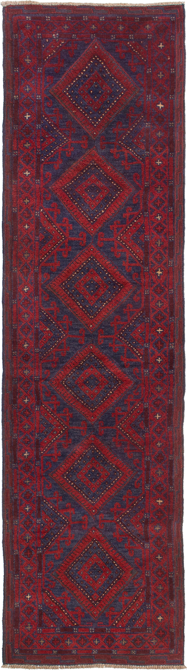 Hand-knotted Afghan Bordered  Tribal Tajik-Caucasian Runner rug  Dark Red 2.2 x 8.1