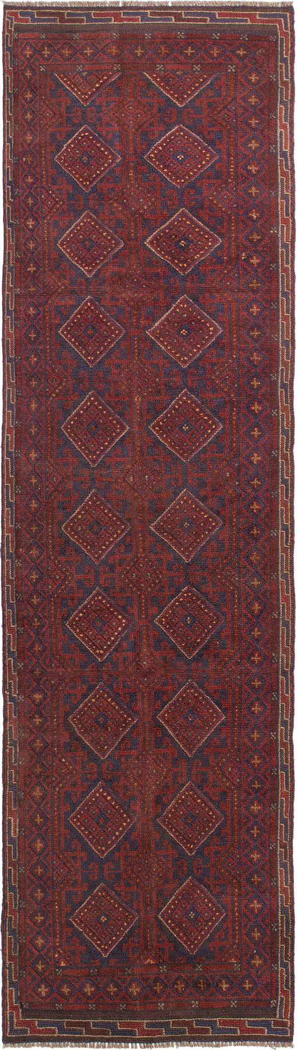 Hand-knotted Afghan Bordered  Tribal Tajik-Caucasian Runner rug  Dark Red 2.3 x 8.1