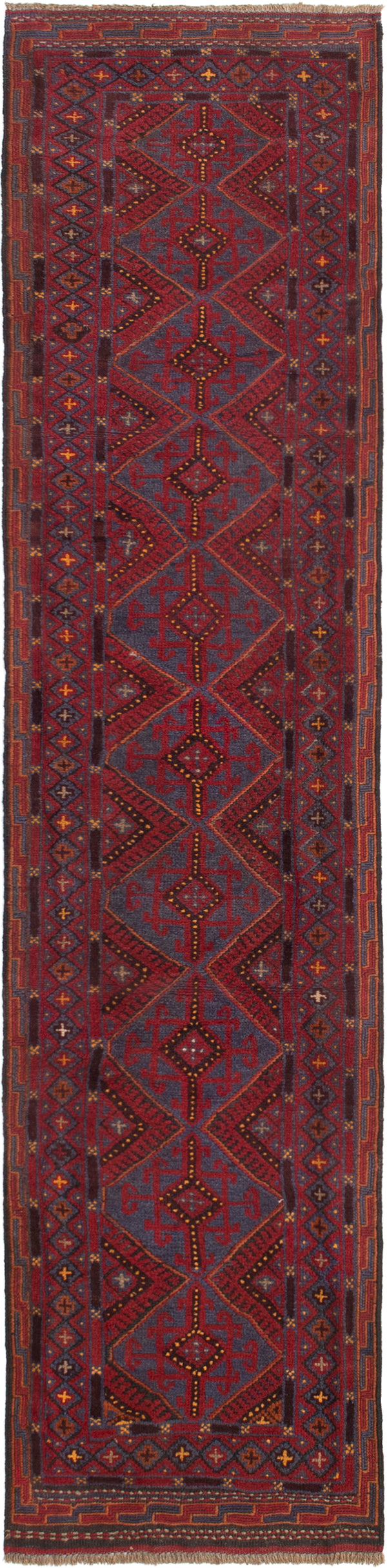 Hand-knotted Afghan Bordered  Tribal Tajik-Caucasian Runner rug  Dark Red 2.1 x 9.4