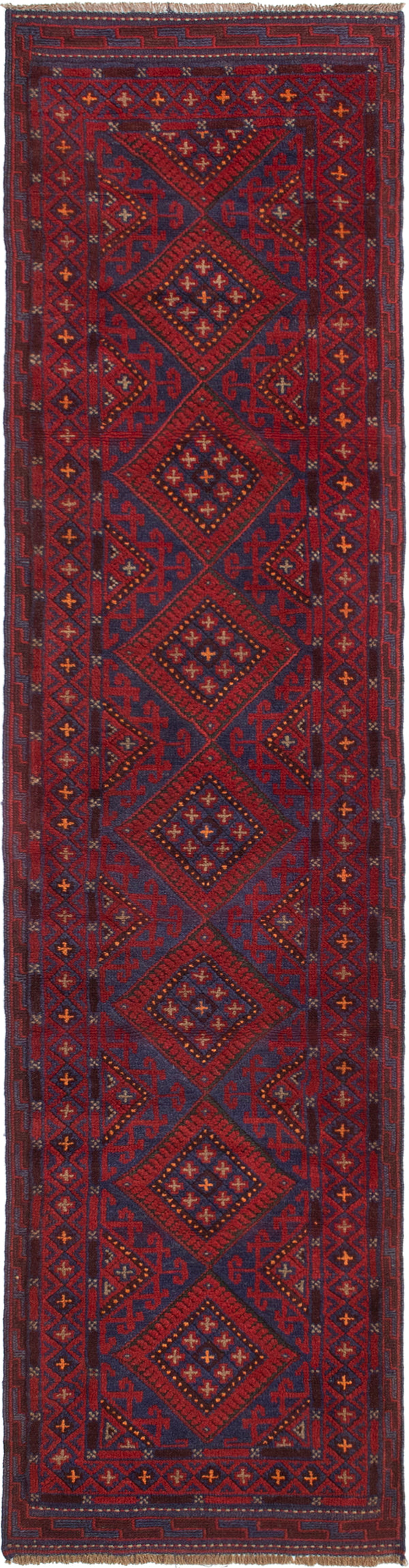 Hand-knotted Afghan Bordered  Tribal Tajik-Caucasian Runner rug  Dark Red 2 x 9