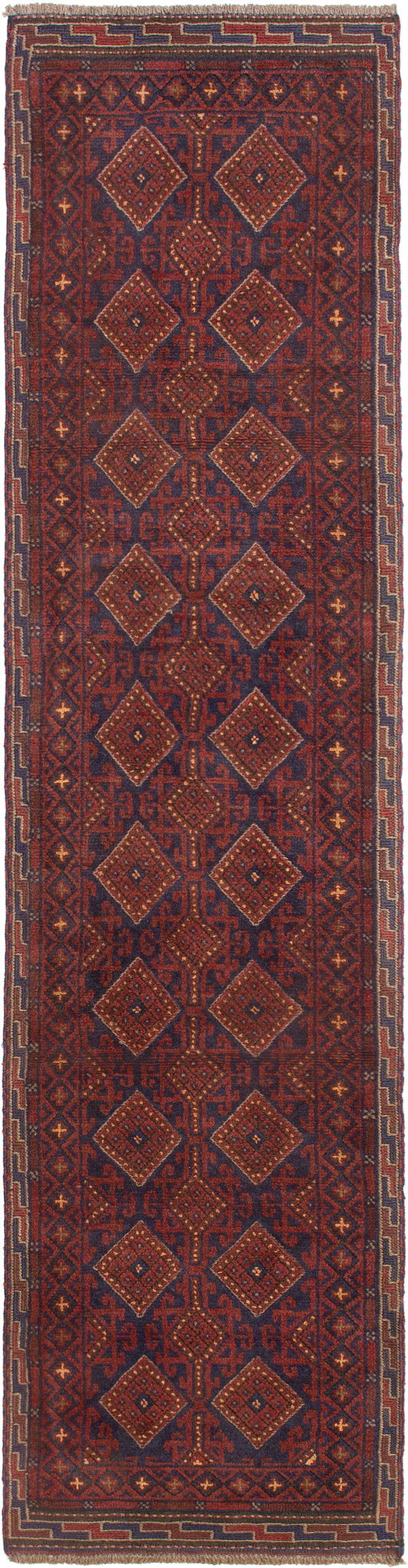 Hand-knotted Afghan Bordered  Tribal Tajik-Caucasian Runner rug  Dark Red 2.2 x 8.11