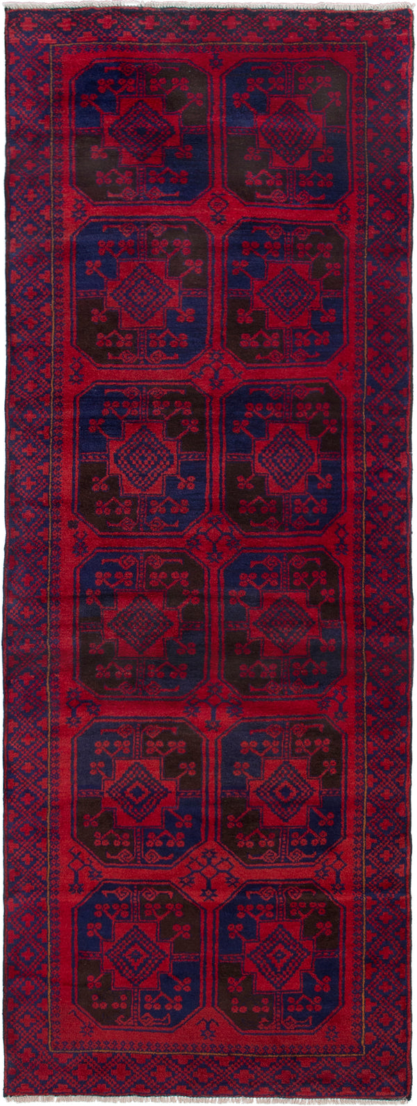 Hand-knotted Afghan Bordered  Tribal Teimani Runner rug  Red 3.5 x 9.1