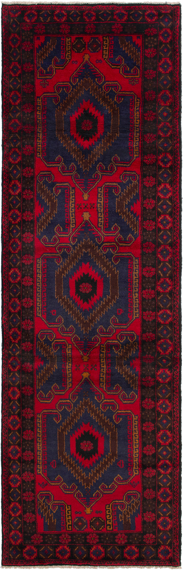Hand-knotted Afghan Bordered  Tribal Rizbaft Runner rug  Red 3.3 x 11