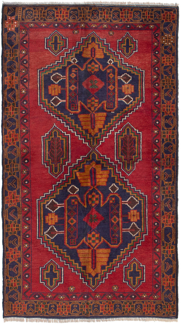 Hand-knotted Afghan Bordered  Tribal Rizbaft Area rug  Dark Copper 3.3 x 6